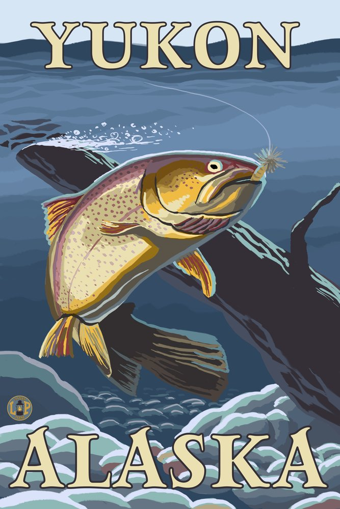 Trout Fishing cross-section – ユーコン、アラスカ 36 x 54 Giclee Print LANT-14039-36x54 36 x 54 Giclee Print  B017EA0KIA
