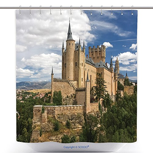 Durable Shower Curtains Castle Of Segovia Spain 271997870 Polyester Bathroom Shower Curtain Set With Hooks by