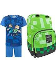 Official Minecraft Creeper Backpack and Surrounded Pyjamas Gift Set Bundle