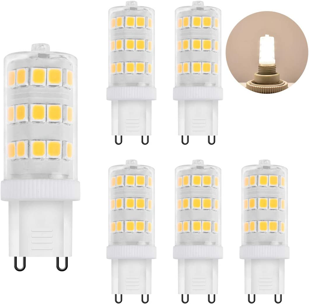Zhzai G9 LED 3.5w Non-dimmable Non-Flicker 35w Halogen Equivalent 350LM AC110V Ceramic Base LED Bulb R80 Bi-Pin Daylight White 5000k Pack of 6