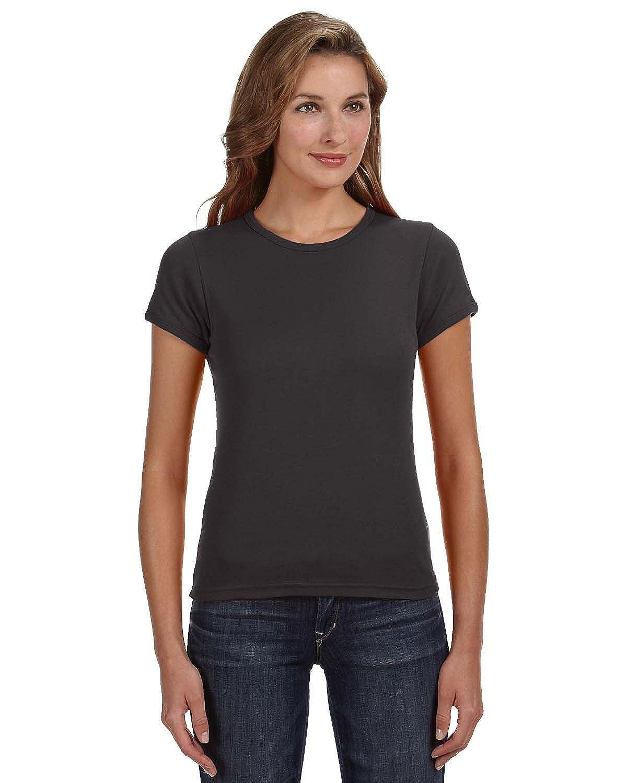 8e2bea8a Clementine Womens 1x1 Rib Scoop Neck T-Shirt 1441 -Smoke L at Amazon Women's  Clothing store: