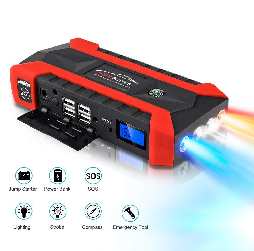 Sonmer Portable 89800mAh 12V LCD 4 USB Car Jump Starter,Super Bright LED Flashlight, Battery Power Bank For Notebook Mobile Phones Tablet