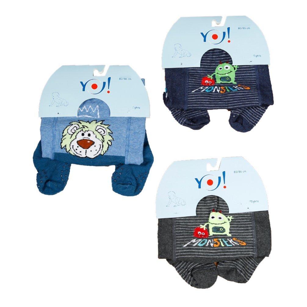 Babystrumpfhose Krabbelstrumpfhose RA-25 mit Noppen fü r Jungen 3 er Set Little Monsters Gr. 74-80 Yo RA-25 Boys