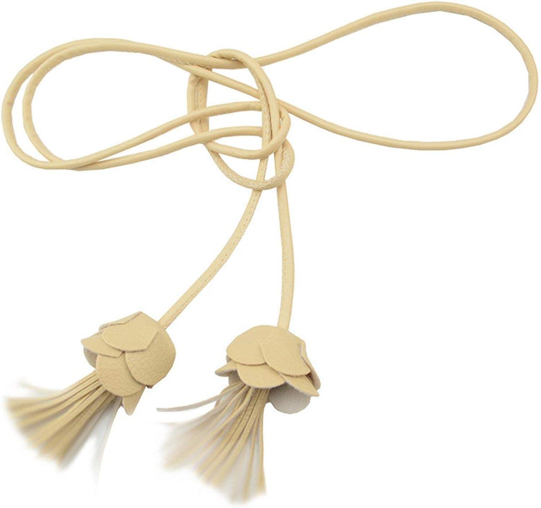 KEBINAI Tassel Fine Belt CorsetPearl Flowers Knotted Narrow Female Chain