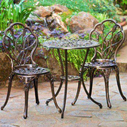 Cheap Christopher Knight Home 283256 Nassau Cast Aluminum Outdoor Bistro Furniture Set, Brown