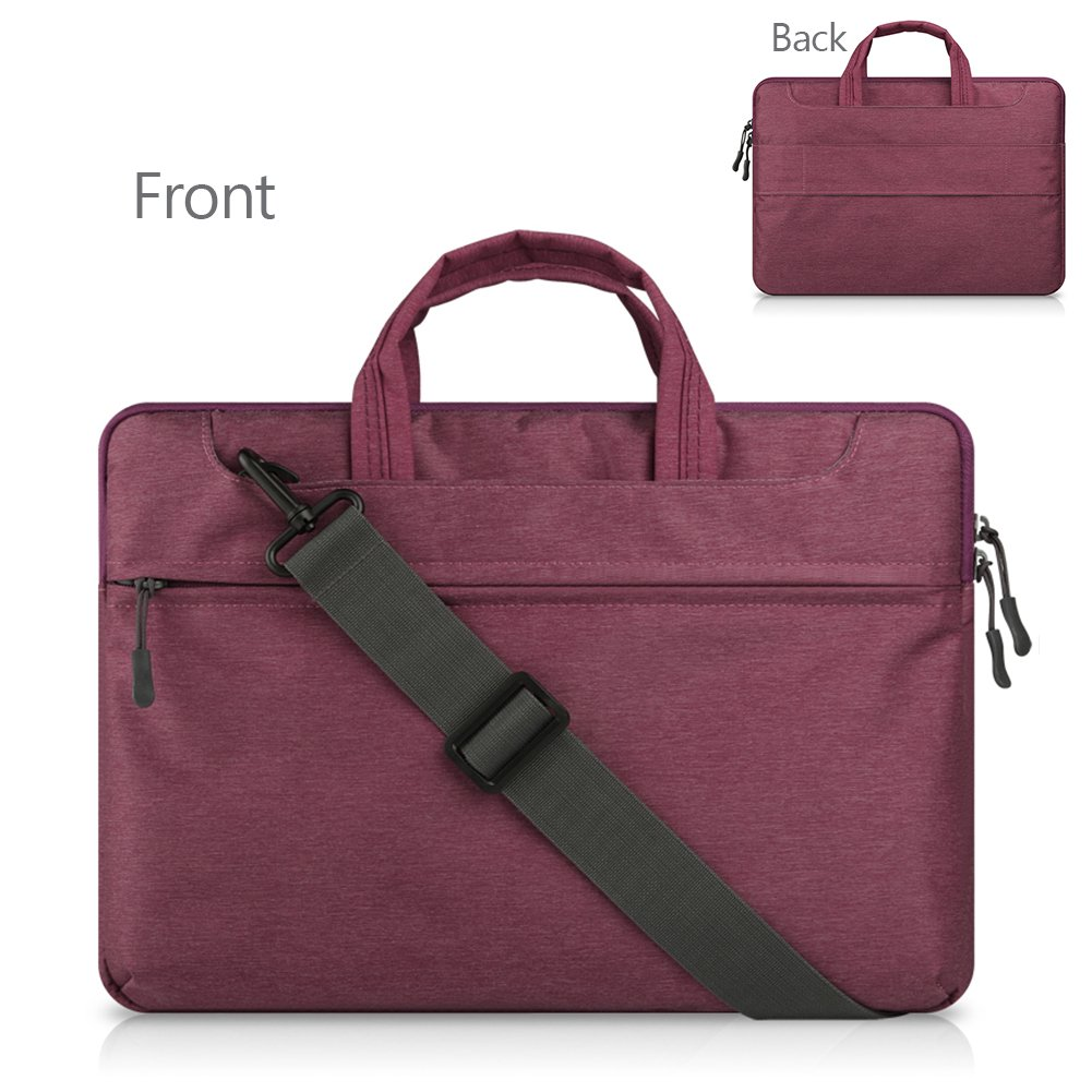 "delicate HEXIN 16""-17"" Women Portable Computer Laptop Bag Burgundy For Travel"