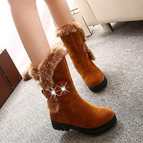 HSXZ Zapatos de Mujer Otoño Invierno PU botas botas de nieve bajo el talón puntera redonda Mid-Calf botas para Casual Negro Rojo Camel Camel