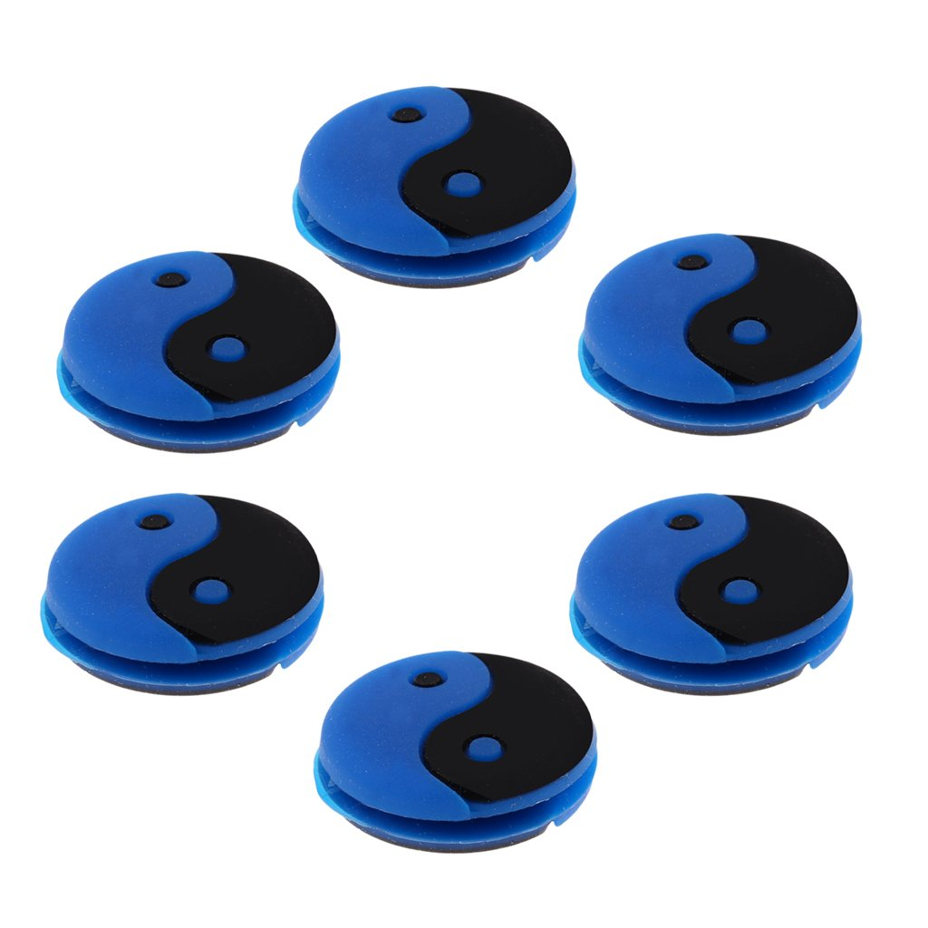Sharplace 18 Pieces Silicone Yin and Yang Tennis Racquet Vibration Dampener Shock Absorber Damper White Blue Yellow