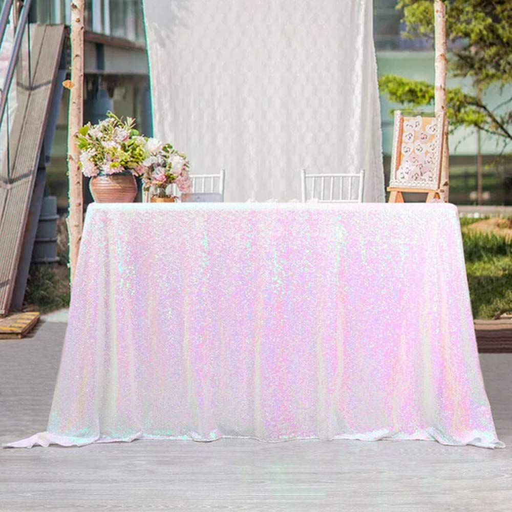 QueenDream Wedding Sequin Tablecloth 50x80inch Iridescent White Sequin Tablecloth Shimmer Tablecloths for Wedding by QueenDream