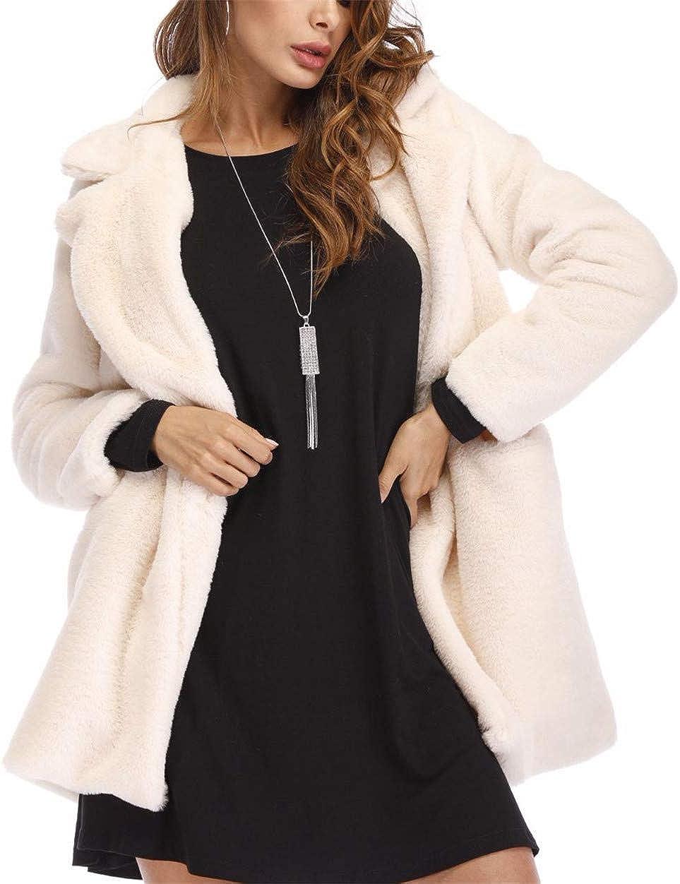 MISSMAO Women Super Warm Long Cardigan Coat Fluffy Faux Fur Winter Fleece Hooded Sherpa Jacket White