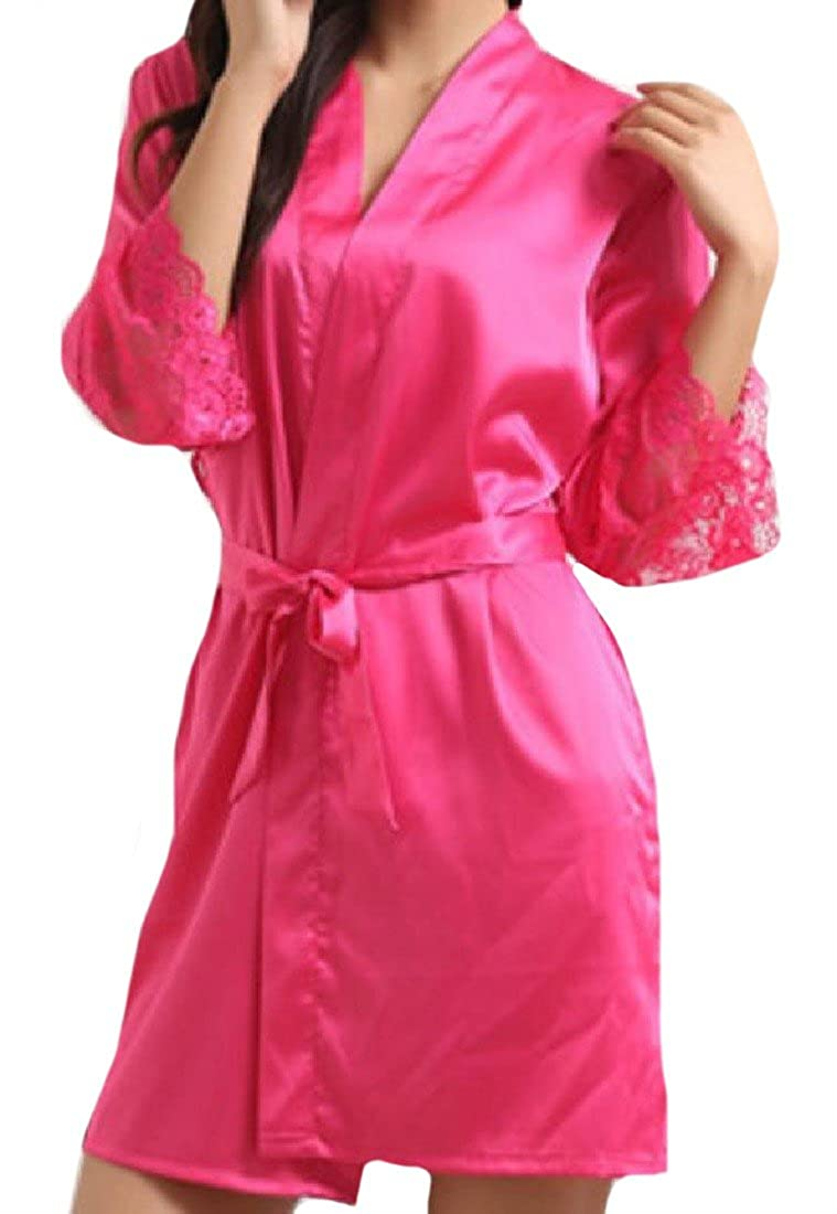 Zago Women's Fashion Mid-Long 3/4 Sleeve Pure Colour Bathrobe