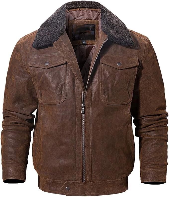 メンズリアルレザージャケット、フェイクの毛皮の襟、男性のオートバイの暖かいコートが付いている本革のジャケット