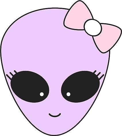 "Amazon.com: Cute Girly Purple Alien Girl Head Cartoon Vinyl Decal Sticker (2"" Tall): Automotive"