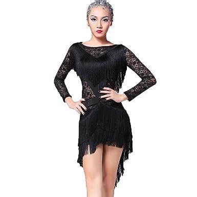 df2c19bc4 YC WELL Latin Dance Dress Tassel Women Tango Salsa Rumba Cha Cha Samba  Dance Clothes Competition