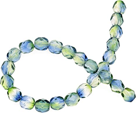 BeadaholiqueCA Czech Pressed Glass 25-Piece Round Melon Beads 8mm Diameter Aquamarine Celsian