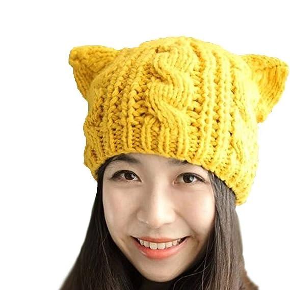 Viskey - Gorro para mujer orejas de gato ganchillo trenzado Knit Caps  amarillo Amarillo  Amazon.es  Hogar 6b035e26763
