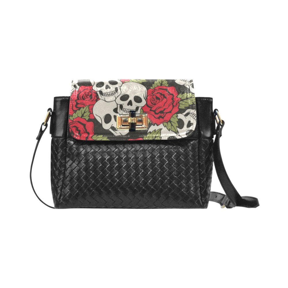 Fashion Women And Girls Rose And Skull Art Woven Leather Crossbody Bag/Shoulder Bag/Tote Bag For Women Girls CR-71