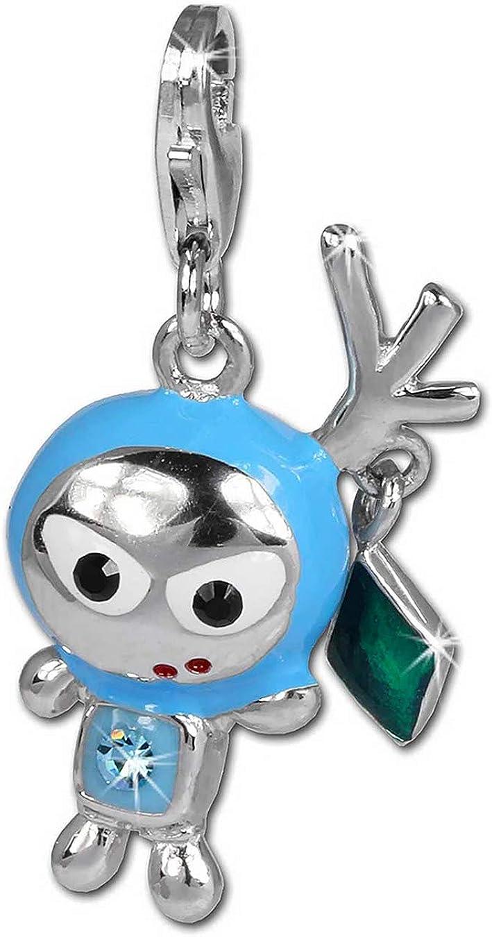 SilberDream paillettes Charm Figurine Space Bodo Bleu clair pour bracelets /à breloques pendentif en argent 925/avec cristaux en Zirconium Cha/îne Boucle dOreille gsc527h