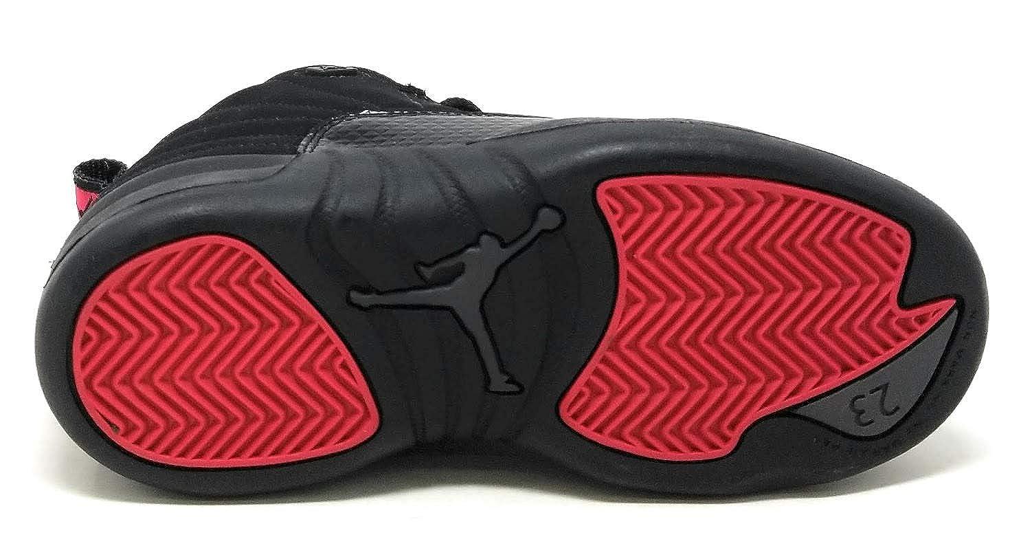 new styles c87d3 10847 Amazon.com   Jordan Kids  Air 12 Retro Bg French Black Red   Basketball
