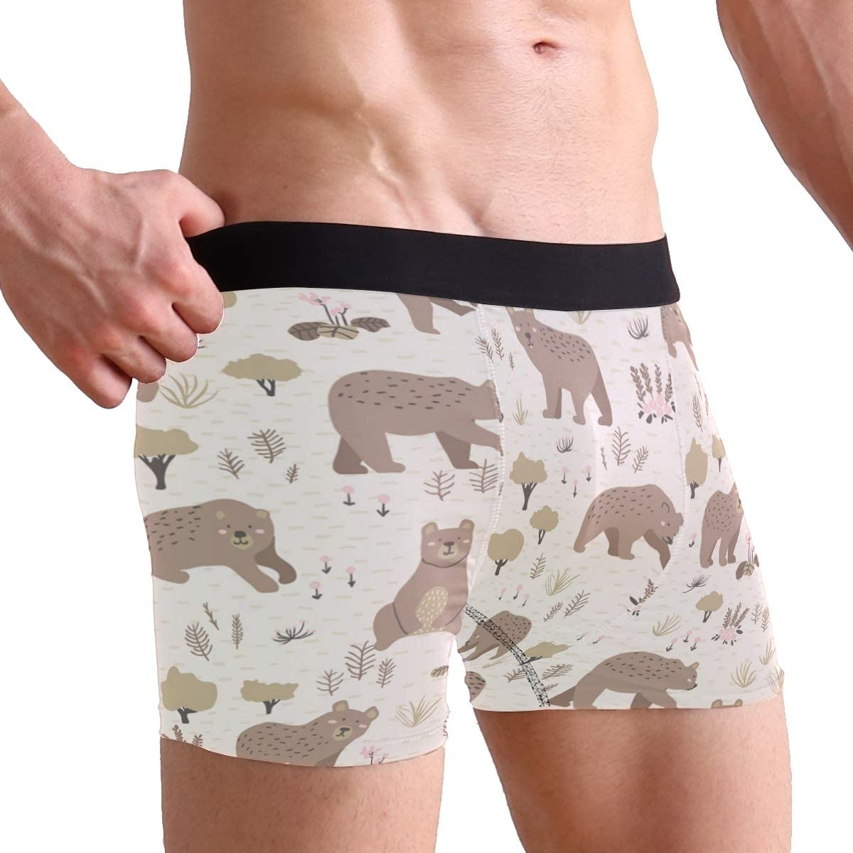 Pack of 2 Bear Pattern Mens Underwear Soft Polyester Boxer Brief Birthday Christmas Gifts for Men Boyfriend Teen Boys Children Friends Family