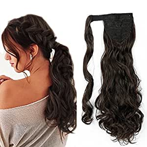 "17""(43cm) Coleta Postiza de Pelo Sintético Rizado con Clips Extensiones de Cabello Invisible y Natural Ponytail Hair Extension (90g,Castaño Oscuro)"