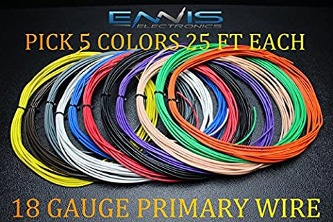 18 GAUGE WIRE ENNIS ELECTRONICS PICK 5 COLORS 25 FT AUTOMOTIVE PRIMARY REMOTE HOOK UP AWG COPPER CLAD (PICK 5 - Wire Pick