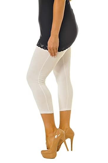 cff59213af3736 ... Collection New Womens Plus Size Leggings Ladies Cropped Trousers Capri  Elasticated 3/4 Length Bottoms Colour White Size 16-18: Amazon.co.uk:  Clothing
