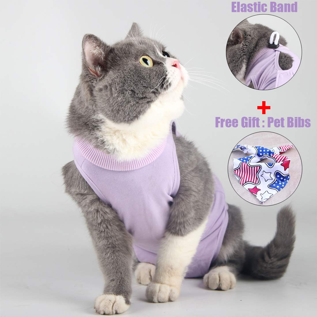 Cat Surgical Recovery Suit Abdominal Wounds or Skin Diseases, E-Collar Alternative,After Surgery Wear, Professional Home Indoor Pets Clothing by Wooruy