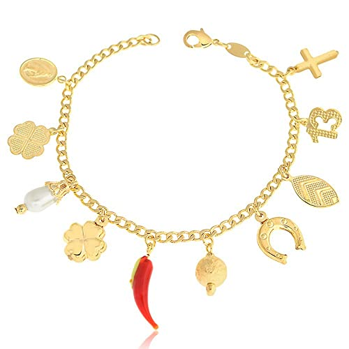 5b7892a82c1 Image Unavailable. Image not available for. Color  14k Gold Filled Charm ANKLET  BRACELET 10-Lucky ...