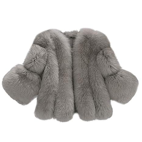 Geili Felljacke Damen Pelzjacke Mantel Winter Elegant Warm Faux Fur Kunstfell Jacke Kurz Mäntel Coat Große Größen Wintermante