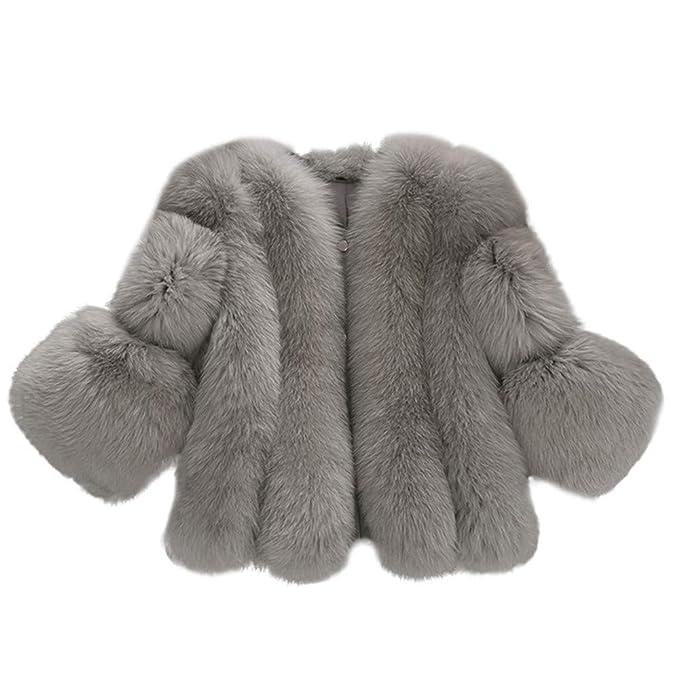 Damen Winter Pelz Kurzmantel Kunstpelz Faux Fur Fellmantel Felljacke Plüschjacke