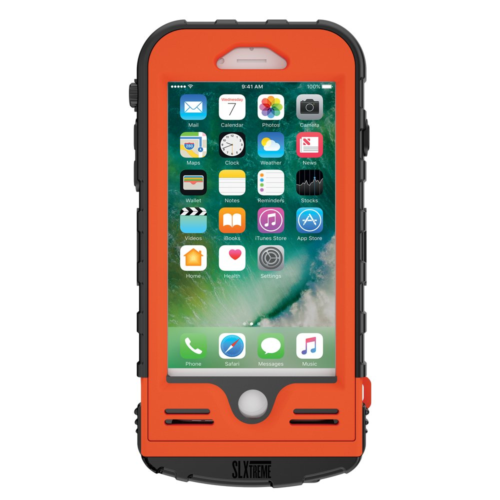 SnowLizard SLXtreme iPhone 8 Case. Solar Powered, Rugged and Waterproof with a built in Battery - Signal Orange by Snow Lizard Products (Image #2)