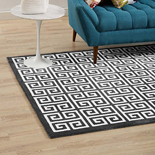 Modway Freydis Greek Key Trellis 5x8 Area Rug With Lattice Design In Black and White (Key Rug Outdoor Greek)