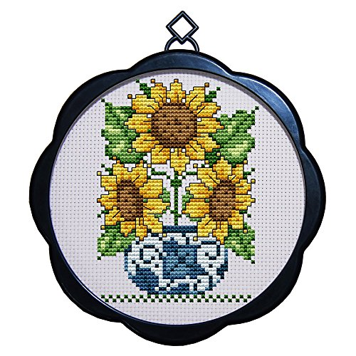 Kit Sunflower (DIY Arts Crafts and Sewing Flowers Cross-Stitching Needlepoints Kit Home Decor Embroidery Set Starter Stamped Cross Stitch Kits Printed pattern, Sunflower Potted)