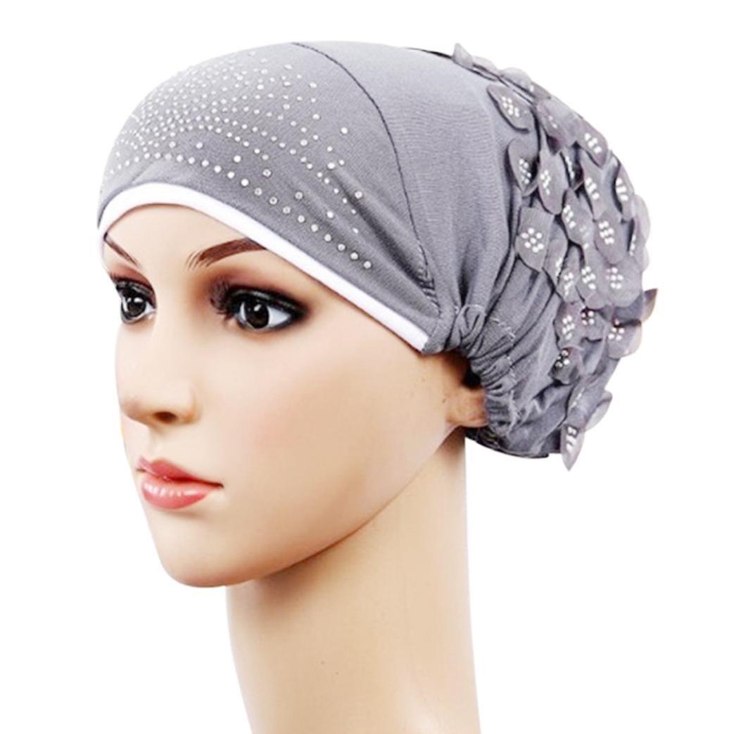 NEWONESUN Women Muslim Stretch Turban Hat Chemo Cap Hair Loss Head Wrap Cap