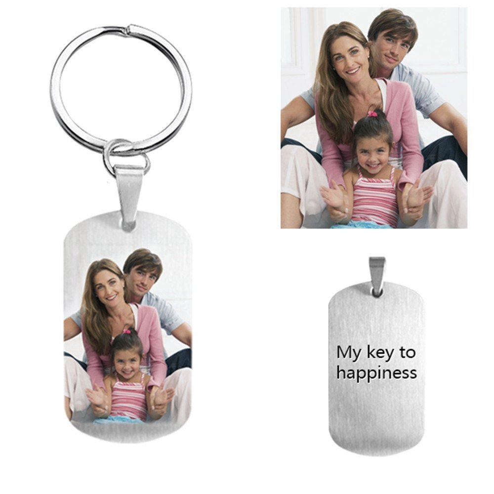 diynecklaces Personalized Photo Key Chain Titanium Steel Engraved Memory Gift For Men Dog Tag KeyChain For Fathers Day Gifts - Full Color