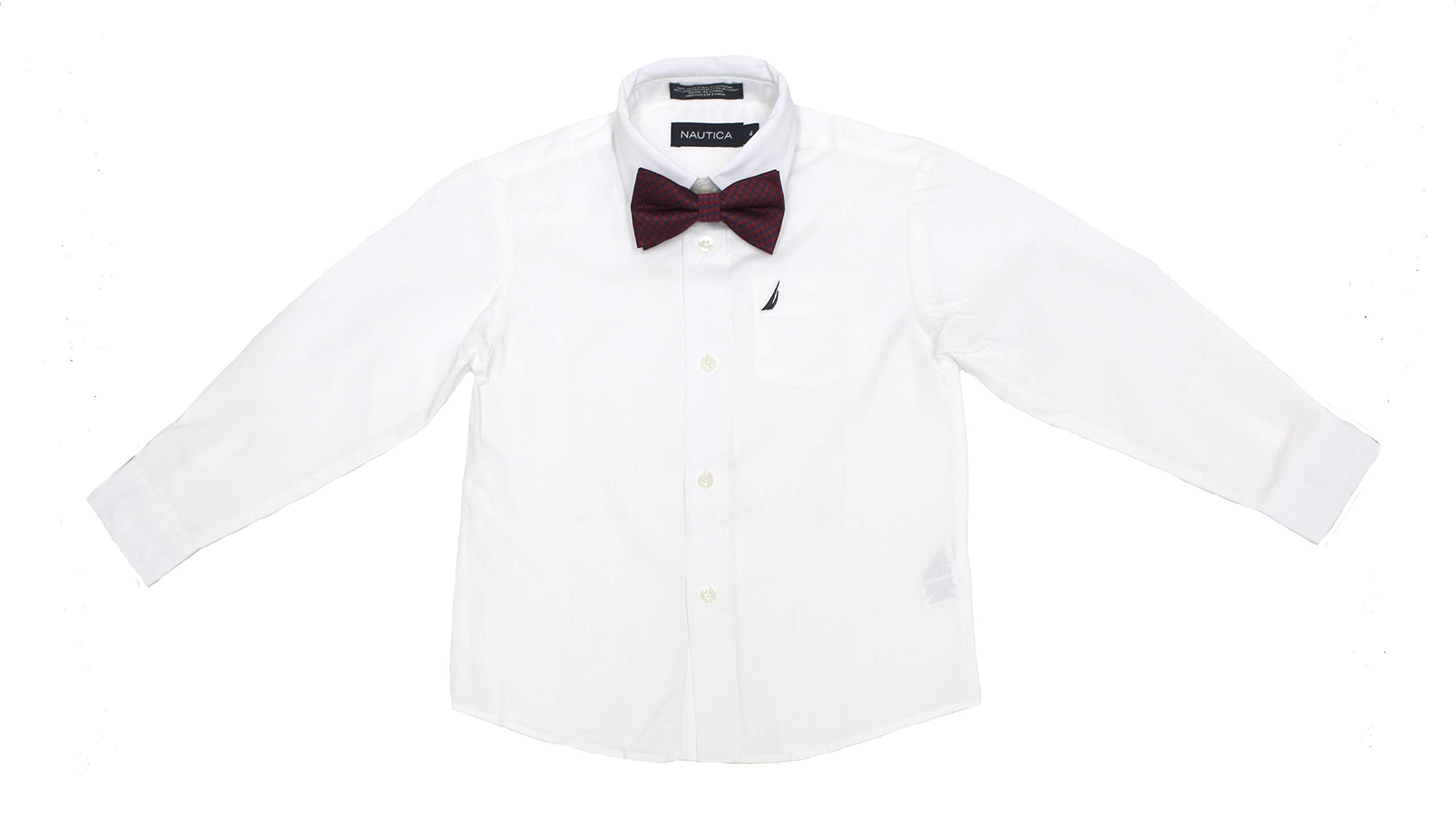 Nautica Little Boys' Long Sleeve Dress Shirt with Bow Tie, White, 4