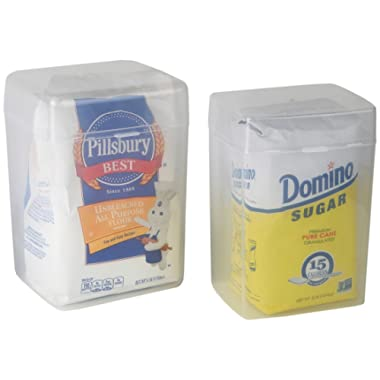 Home-X Set of 2 - 1 Flour Keeper and 1 Sugar Keeper Plastic Storage Container