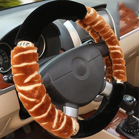 CHES Fundas para volante, Felpa Invierno Calentar Antideslizante Decoración de autos Universal Ajuste 38cm /