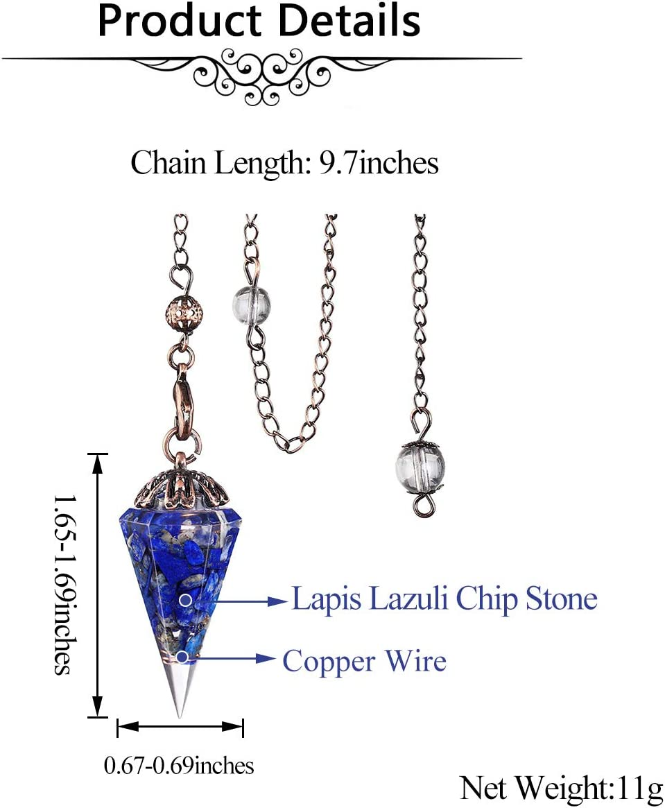 Jovivi Natural Amethyst Chip Stone Gemstone Chakra Healing Crystals Pendulum for Dowsing Divination 6 Facted Hexagon Pointed Cone Reiki Pendulum Pendant with Chain