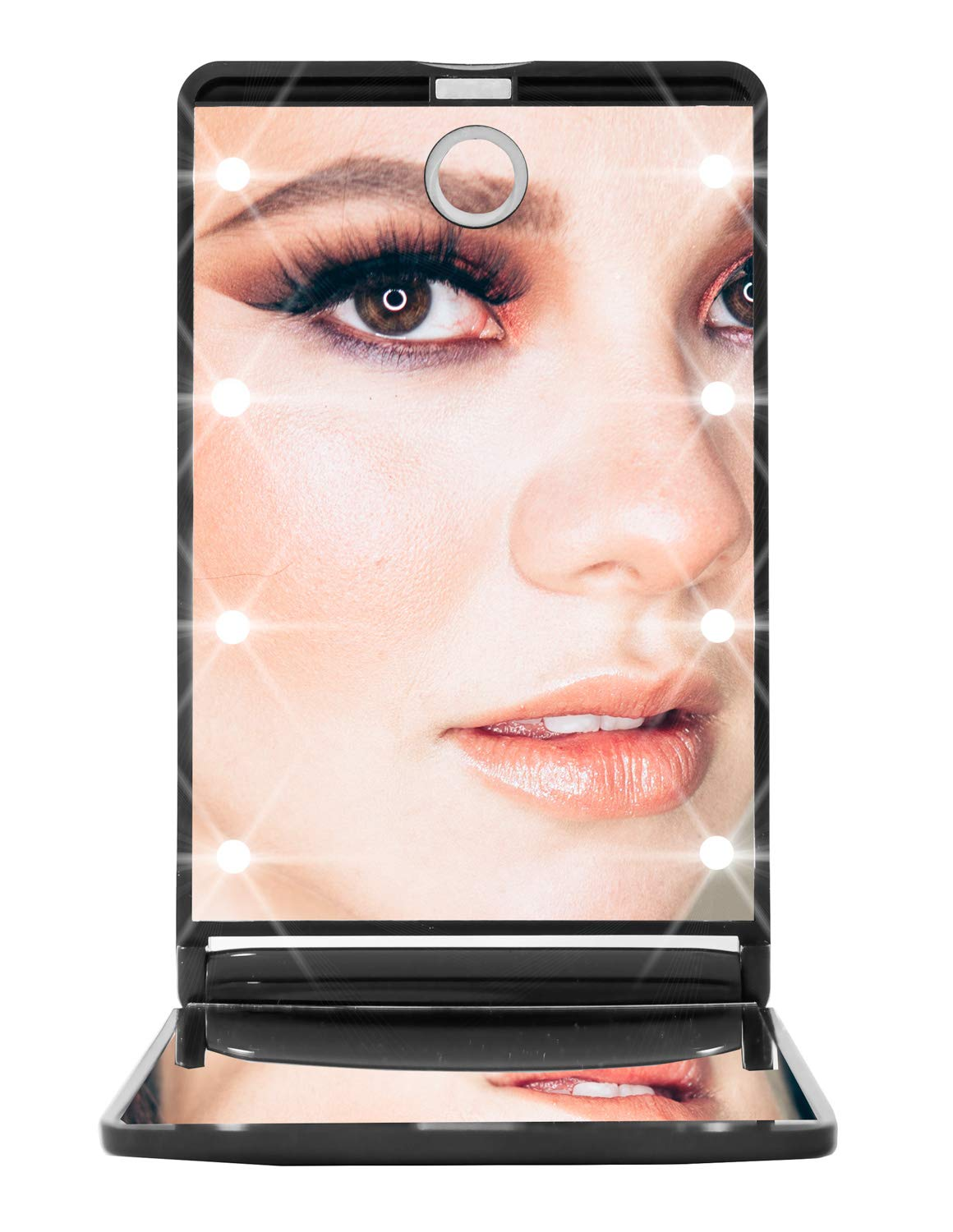 Small Handheld Portable Foldable Cosmetic Makeup Travel Mirror with LED Lights 2x Magnified