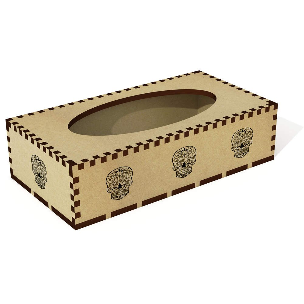 Azeeda Long 'Sugar Skull' Wooden Tissue Box Cover (TB00030022)