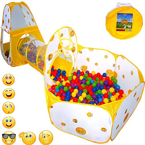 Review Of Playz 3pc Emoji Toys Kids Pop Up Play Tent Crawl Tunnel & Ball Pit with Basketball Hoop Pl...