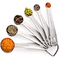 Noosa Life | Measuring Spoons | Heavy Duty Stainless Steel | Set of 6 | Dry and Liquid Ingredients | Durable and Dishwasher Safe | Premium 304 Stainless Steel - Thick and Strong - Will Not Rust |Metric and US Measurements - Complete Kitchen Set