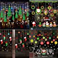 Kalolary 6 PCS Christmas Window Clings Decal Stickers Decorations, Happy New Year Decoration Tree Snowflake Balls Santa Claus DIY Wall Stickers - Hallway Show Shop Glass Door Home Art Decals