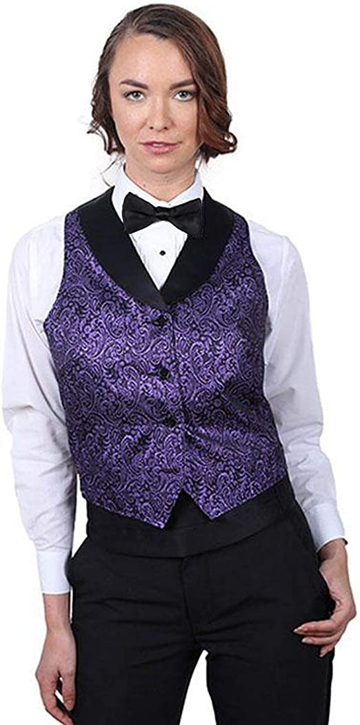 SixStarUniforms Womens Purple Metallic Tuxedo Vest with Black Lapel