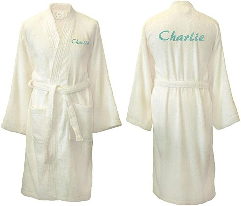 670fb86087 Personalised Cream Embroidered Towelling Kimono Style Bathrobe   Dressing  Gown (L XL Back Embroidery)  Amazon.co.uk  Clothing