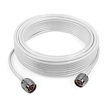 3D-FB Cable coaxial de Baja pérdida Cable de Extension 15 Metros con conectadores N Macho a N Macho para Amplificador móvil repetidor de señal del teléfono ...