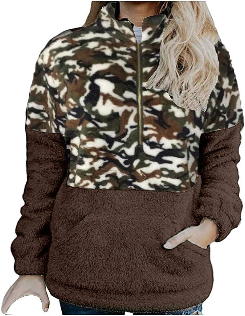 Vectry Abrigo Mujer Rebajas,Otoño Invierno Costura Casual Camuflaje Chaqueta con Capucha a Juego de Color Abrigo de Felpa Outwear Túnica Ligera Sudadera con Capucha Ropa de Invierno