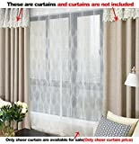 Aside Bside Sheer Curtains Classic Style Rod Pockets Lozenge Wave Knitting Permeable Window Decoration For Kitchen Sitting Room and Houseroom (1 Panel, W 52 x L 63 inch, White)
